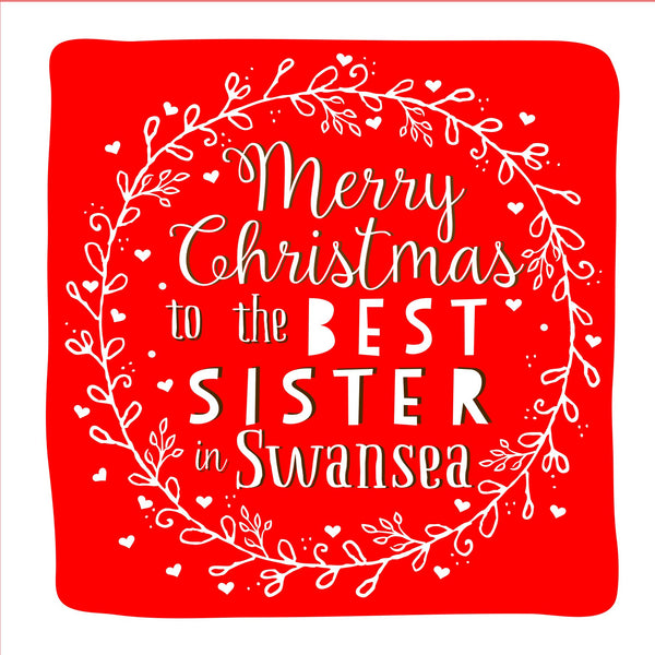 Best Sister Wreath Christmas Location Card