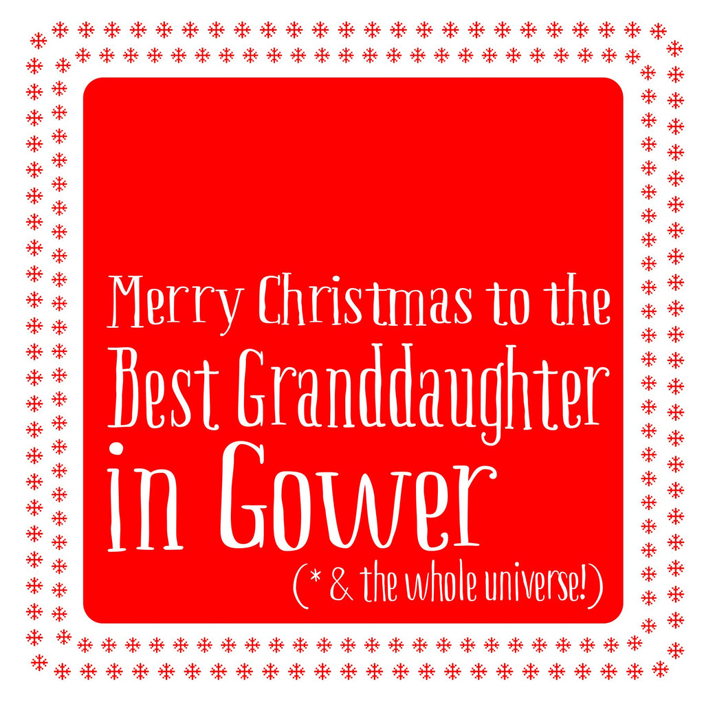 Best Granddaughter Snowflake Christmas Location Card