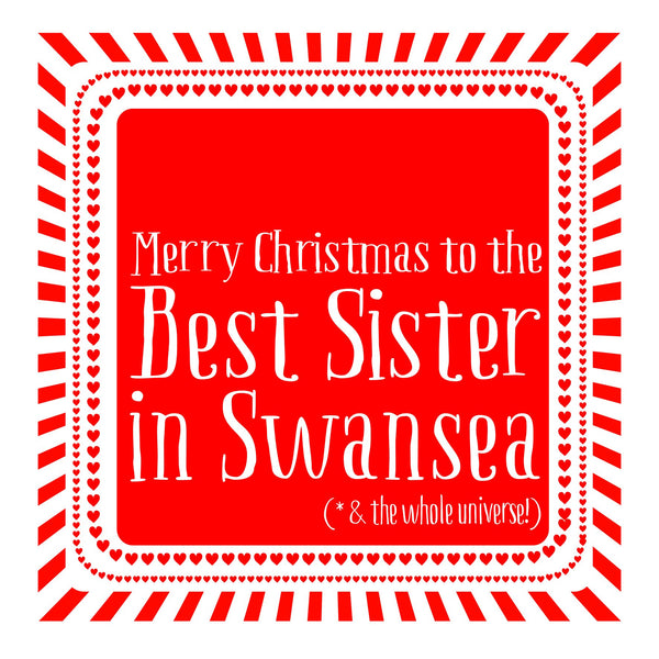 Best Sister Heart Christmas Location Card