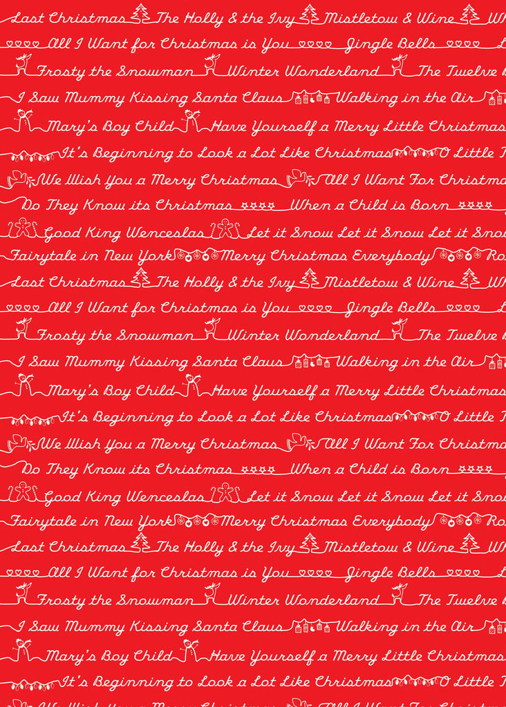 Christmas Song Sheet Red/White Christmas Wrap
