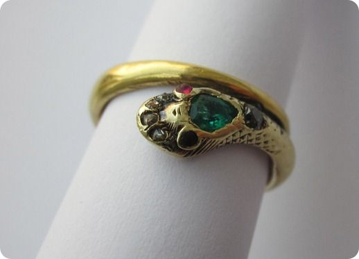 Victorian Wedding Fashion - Revolutionary for that time Victoria's engagement ring with a serpent symbolizing fidelity