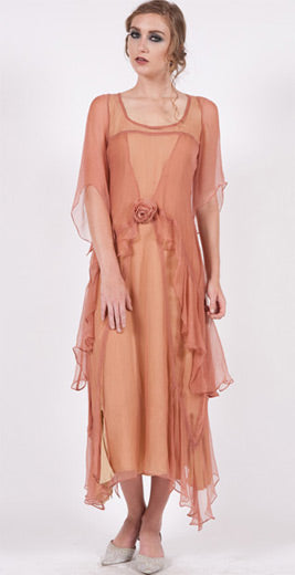 Gatbsy style wedding dress in rose and gold