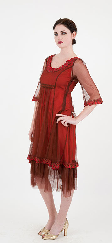 vintage style gatsby dress in red