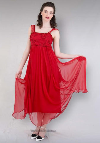 vintage style chiffon red dresses