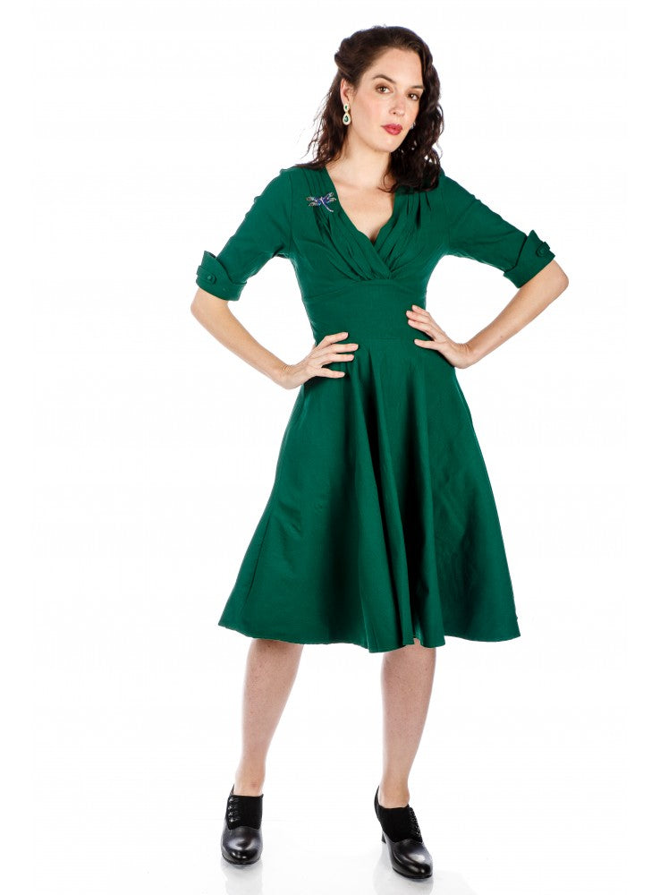 1950s Kennedy Party Dress in Green