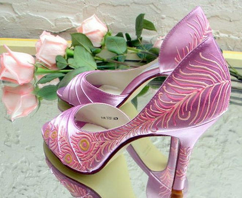 Vintage shoes Cinderella inspired pink colors