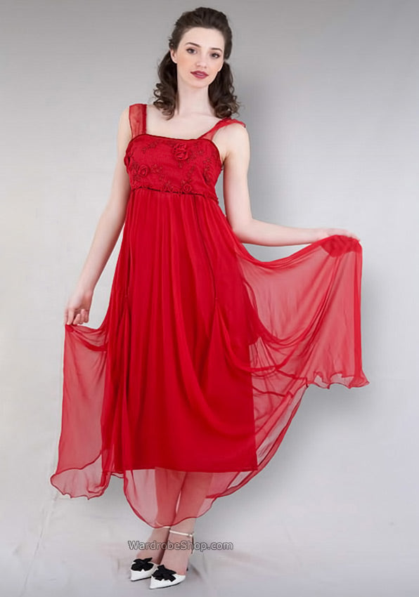 red empire romantic dress