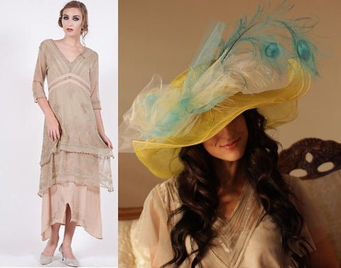 Beautiful hat by Louisa Voisine in bright gold and turquoise shades