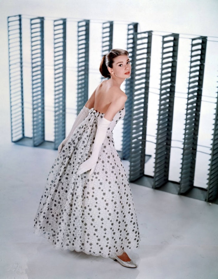 Audrey Hepburn in funny face white silver dress and flats