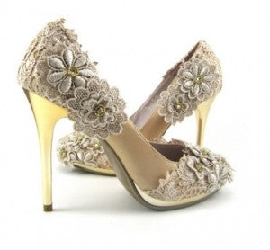"Cream Lace Wedding Heels ""Stella"""