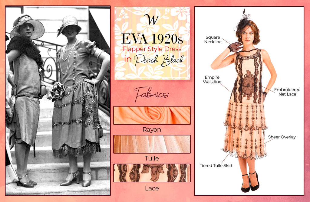Eva 1920s Flapper Style Dress in Peach Black