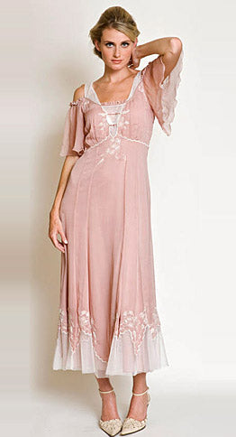 Victorian inspired informal wedding bridal 1940 style tea length original dress al-9005 by nataya