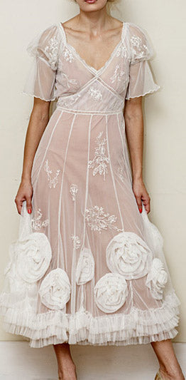 Ball gown with roses ballerina princess style fantasy fairy embroidered nataya dress al-8204