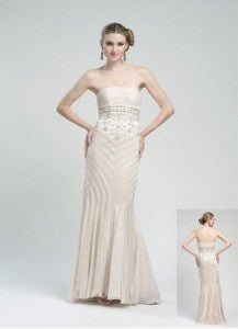 Cascading Waterfall Strapless Ball Gown Dress by Sue Wong