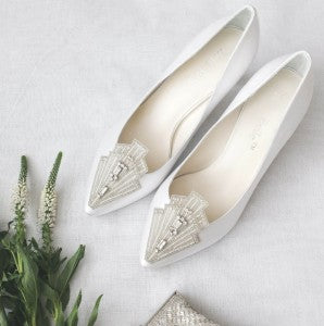 flapper style wedding white shoes