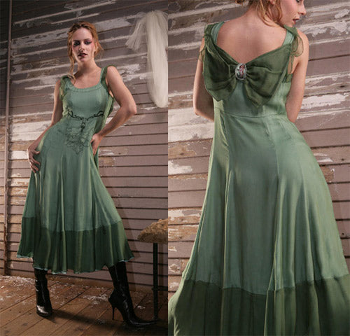 vintage style wedding dress in green