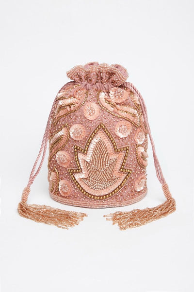 Flapper Hand Beaded Purse In Rose