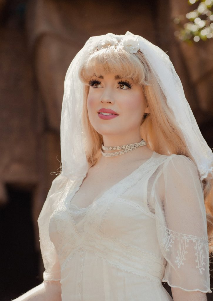 Vintage inspired white wedding gown