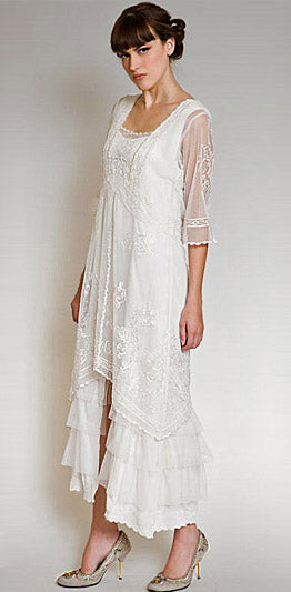 Vintage inspired 1920 retro style wedding gown for informal bride with lace al-2101 by nataya