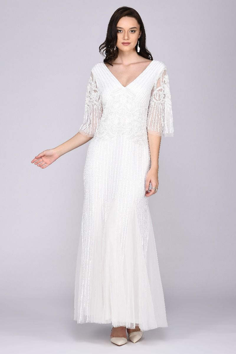 1920s Wedding Dresses- Art Deco Wedding Dress, Gatsby Wedding Dress Galina Gown in White $250.00 AT vintagedancer.com