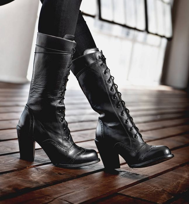 History of Victorian Boots & Shoes for Women Victorian Inspired Mid-Calf Leather Boots in Black Rustic $325.00 AT vintagedancer.com