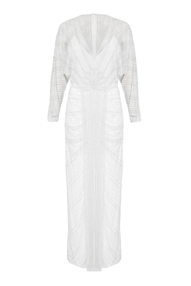 1920s Wedding Dresses- Art Deco Wedding Dress, Gatsby Wedding Dress Siren Gown in White $250.00 AT vintagedancer.com
