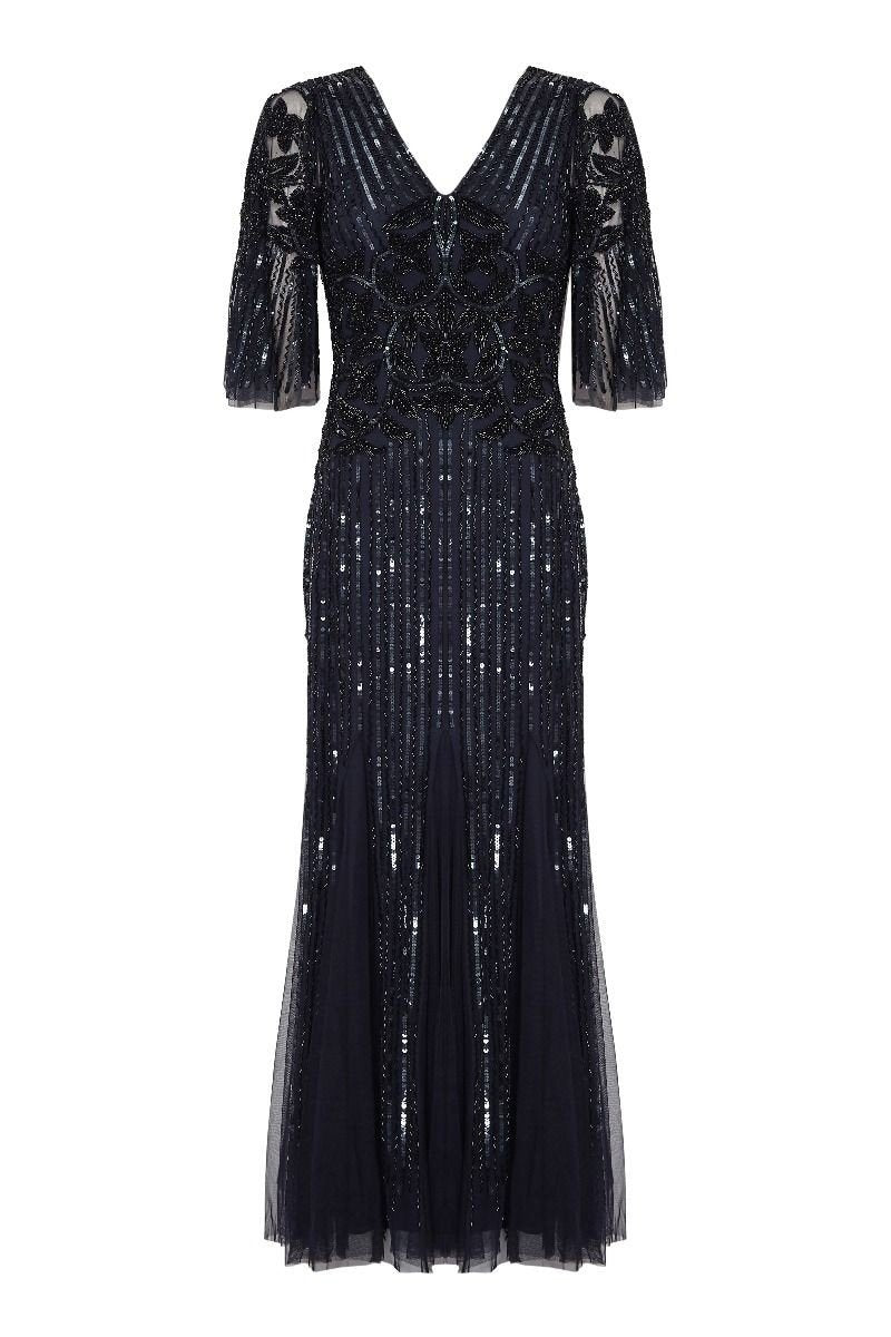 1920s Plus Size Flapper Dresses, Gatsby Dresses, Flapper Costumes Galina Gown in Navy $250.00 AT vintagedancer.com