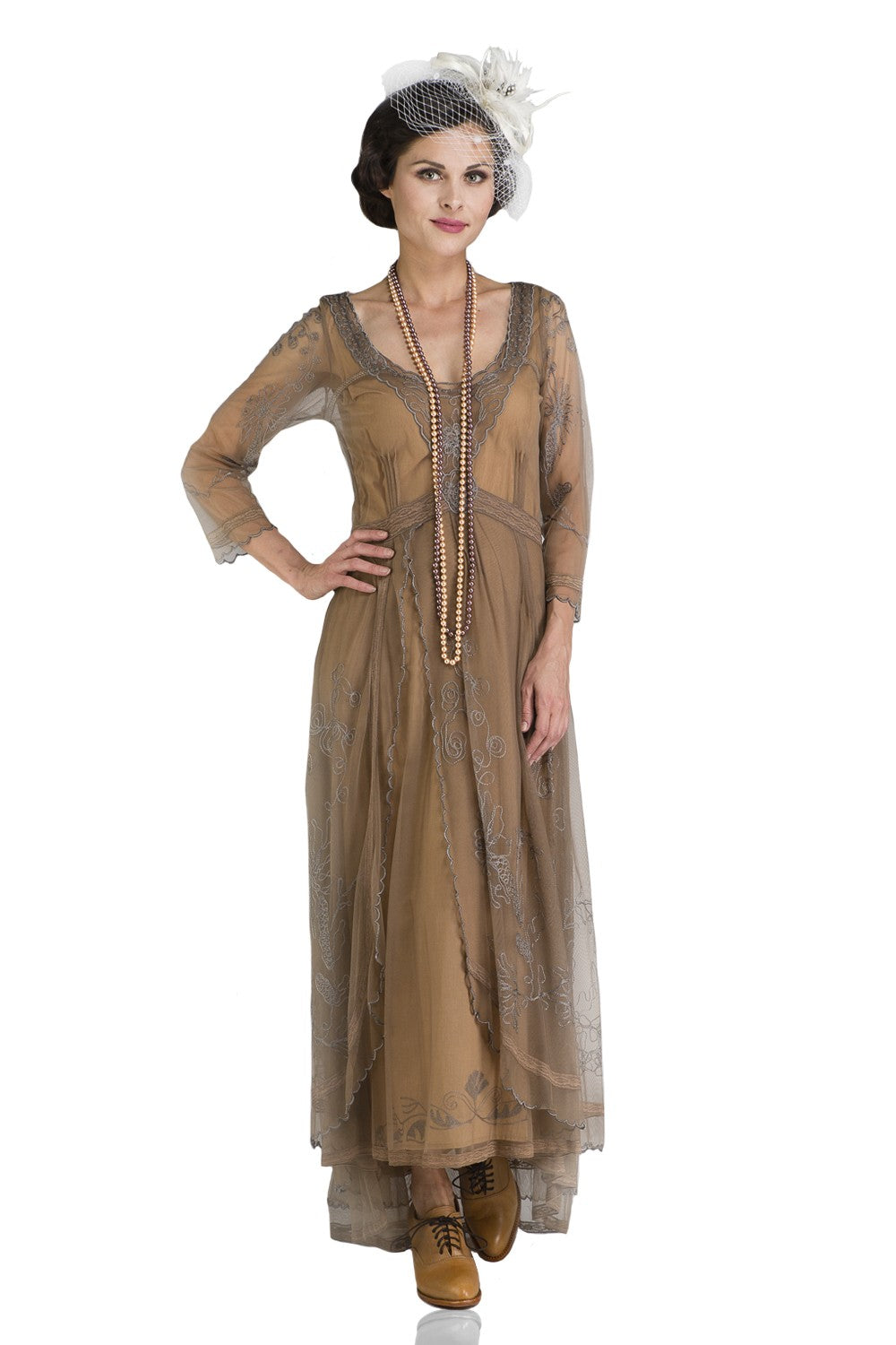 Steampunk Plus Size Clothing & Costumes Downton Abbey Tea Party Gown in Antique Silver by Nataya $250.00 AT vintagedancer.com