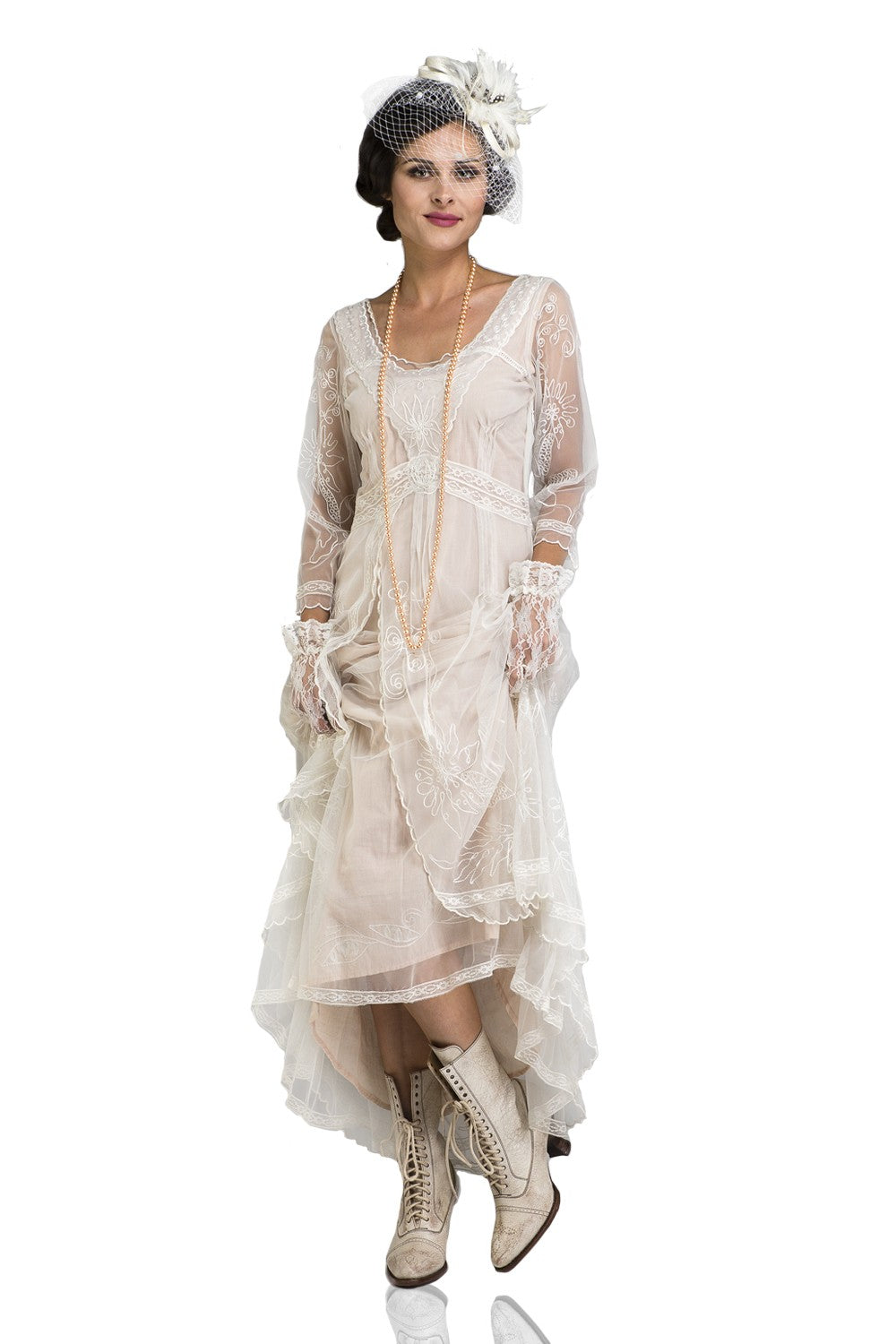 Victorian Wedding Dresses, Shoes, Accessories Downton Abbey Tea Party Gown in Ivory by Nataya $250.00 AT vintagedancer.com