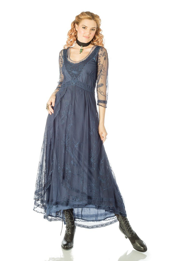 1920s Plus Size Fashion in the Jazz Age Downton Abbey Tea Party Gown in Royal Blue by Nataya $250.00 AT vintagedancer.com