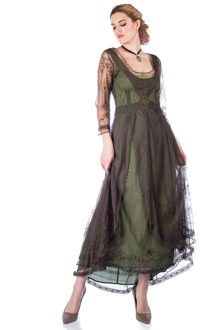 1920s Outfit Ideas: 10 Downton Abbey Inspired Costumes Downton Abbey Tea Party Gown in Emerald by Nataya $250.00 AT vintagedancer.com