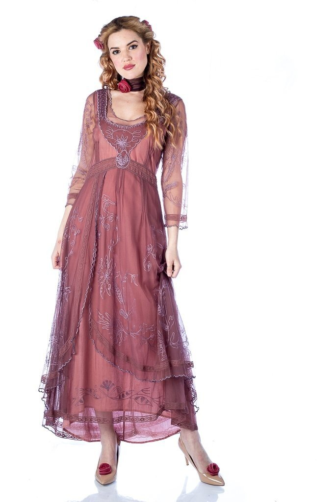 Victorian Plus Size Dresses | Edwardian Clothing, Costumes Downton Abbey Tea Party Gown in Mauve by Nataya $250.00 AT vintagedancer.com