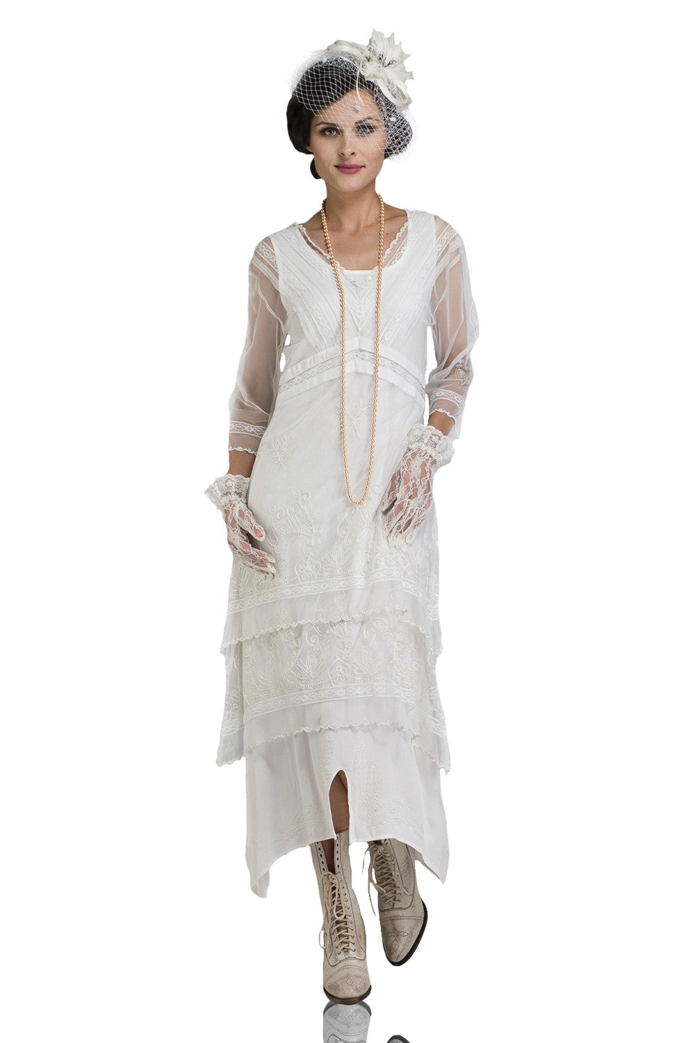 1920s Fashion & Clothing | Roaring 20s Attire Vintage Titanic Tea Party Dress in Ivory by Nataya $228.00 AT vintagedancer.com