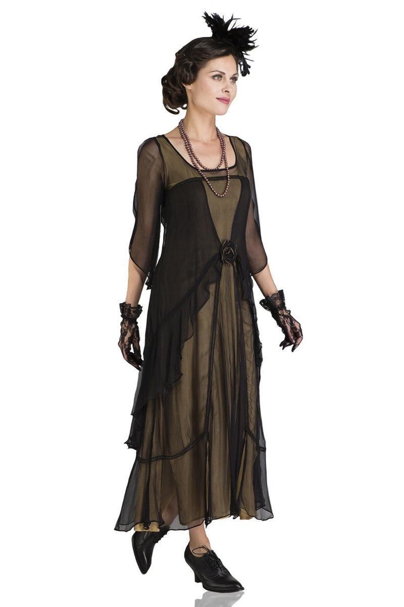 Great Gatsby Black and Gold flapper dress
