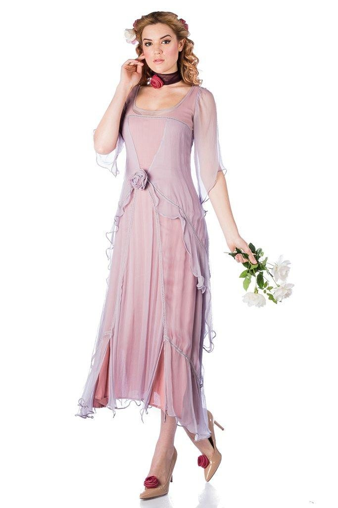 1920s Day Dresses, Tea Dresses, Mature Dresses with Sleeves Great Gatsby Party Dress in Mauve by Nataya $228.00 AT vintagedancer.com