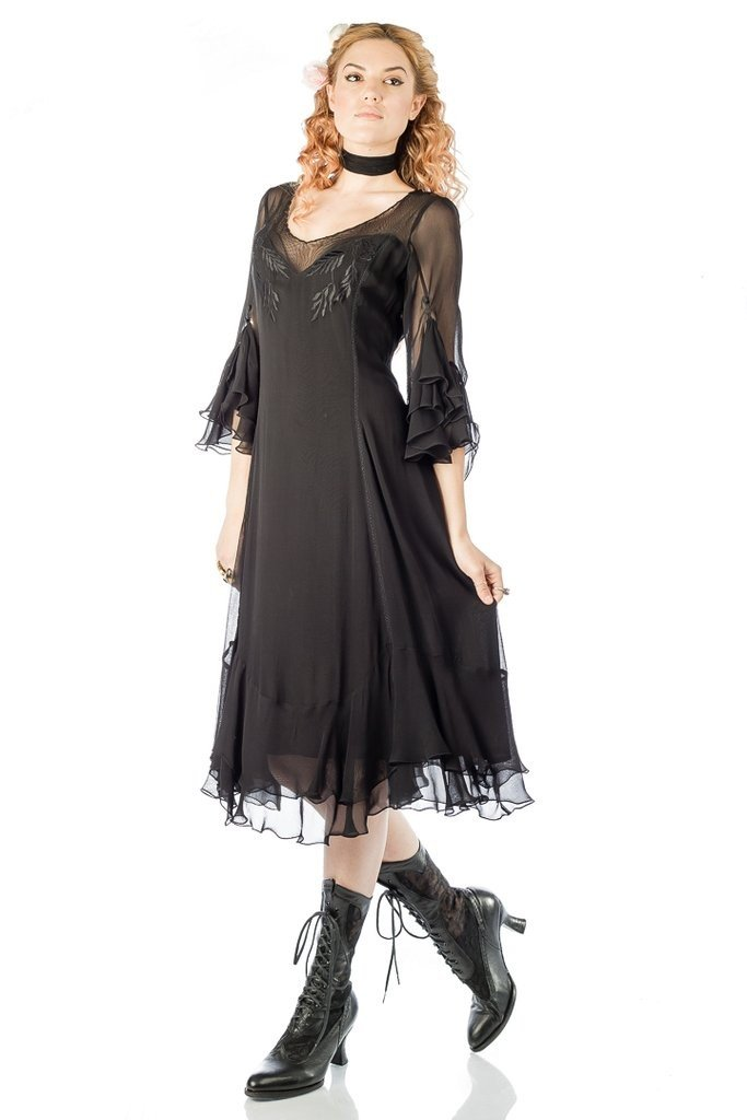 Victorian Dresses | Victorian Ballgowns | Victorian Clothing Vintage Inspired Black Dress by Nataya $206.00 AT vintagedancer.com