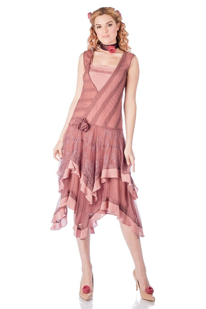 Flapper Dresses & Quality Flapper Costumes Charly Flapper Style Dress in Mauve by Nataya $219.00 AT vintagedancer.com