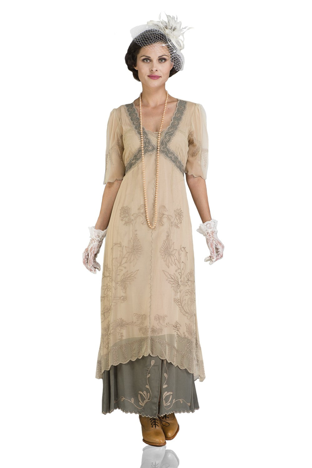 1900 -1910s Edwardian Fashion, Clothing & Costumes New Vintage Titanic Tea Party Dress in Sage by Nataya $228.00 AT vintagedancer.com