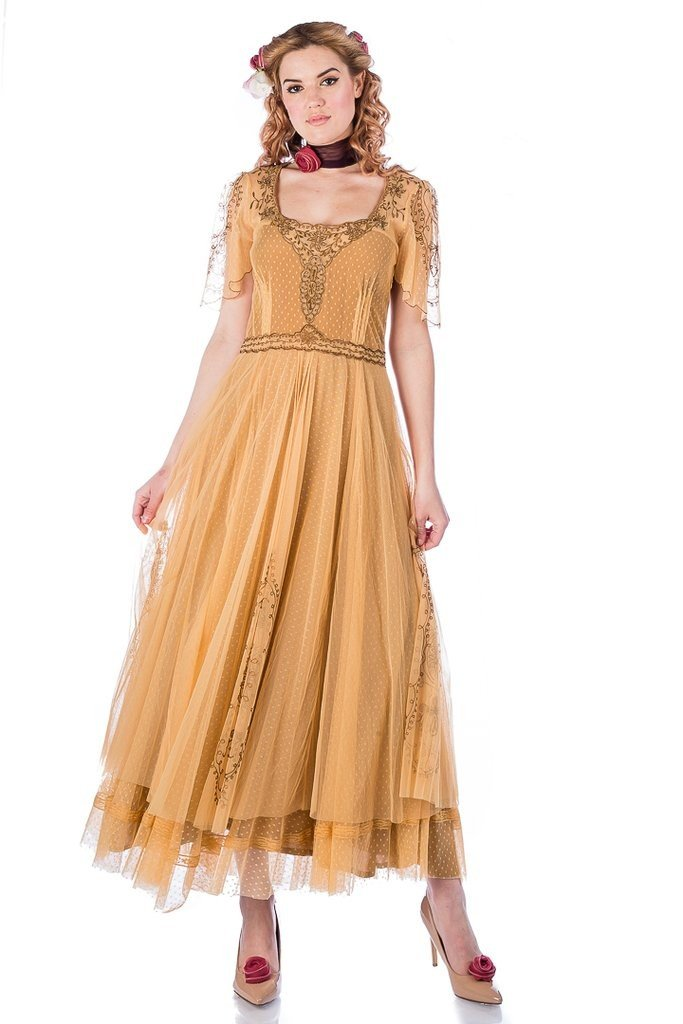 Cottagecore Dresses Aesthetic, Granny, Vintage Alice Vintage Style Dress in Black-Gold by Nataya $265.00 AT vintagedancer.com