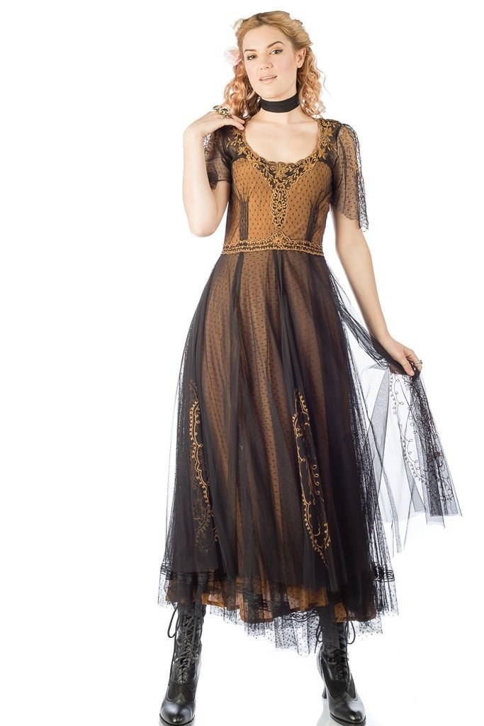 Steampunk Dresses | Women & Girl Costumes Alice Vintage Style Dress in Black-Gold by Nataya $265.00 AT vintagedancer.com