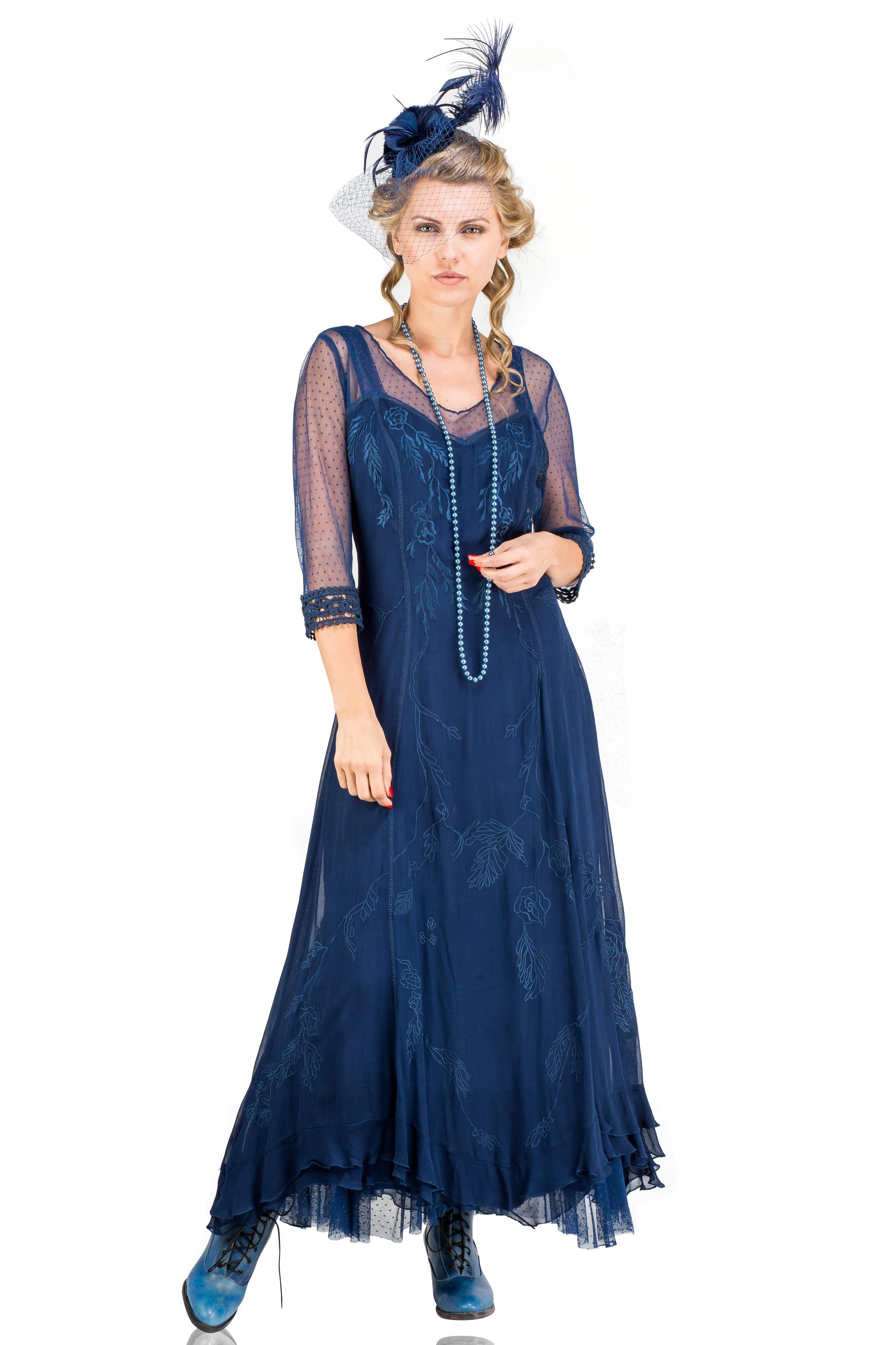 1920s Fashion & Clothing   Roaring 20s Attire Celine Vintage Style Wedding Gown in Royal Blue by Nataya $290.00 AT vintagedancer.com