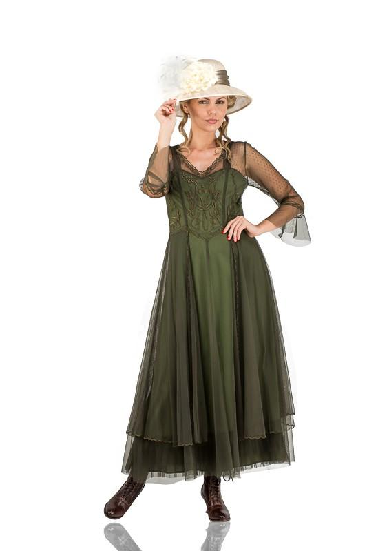 Edwardian Outfit Inspiration & Ideas Vivian Vintage Style Wedding Gown in Emerald by Nataya $290.00 AT vintagedancer.com