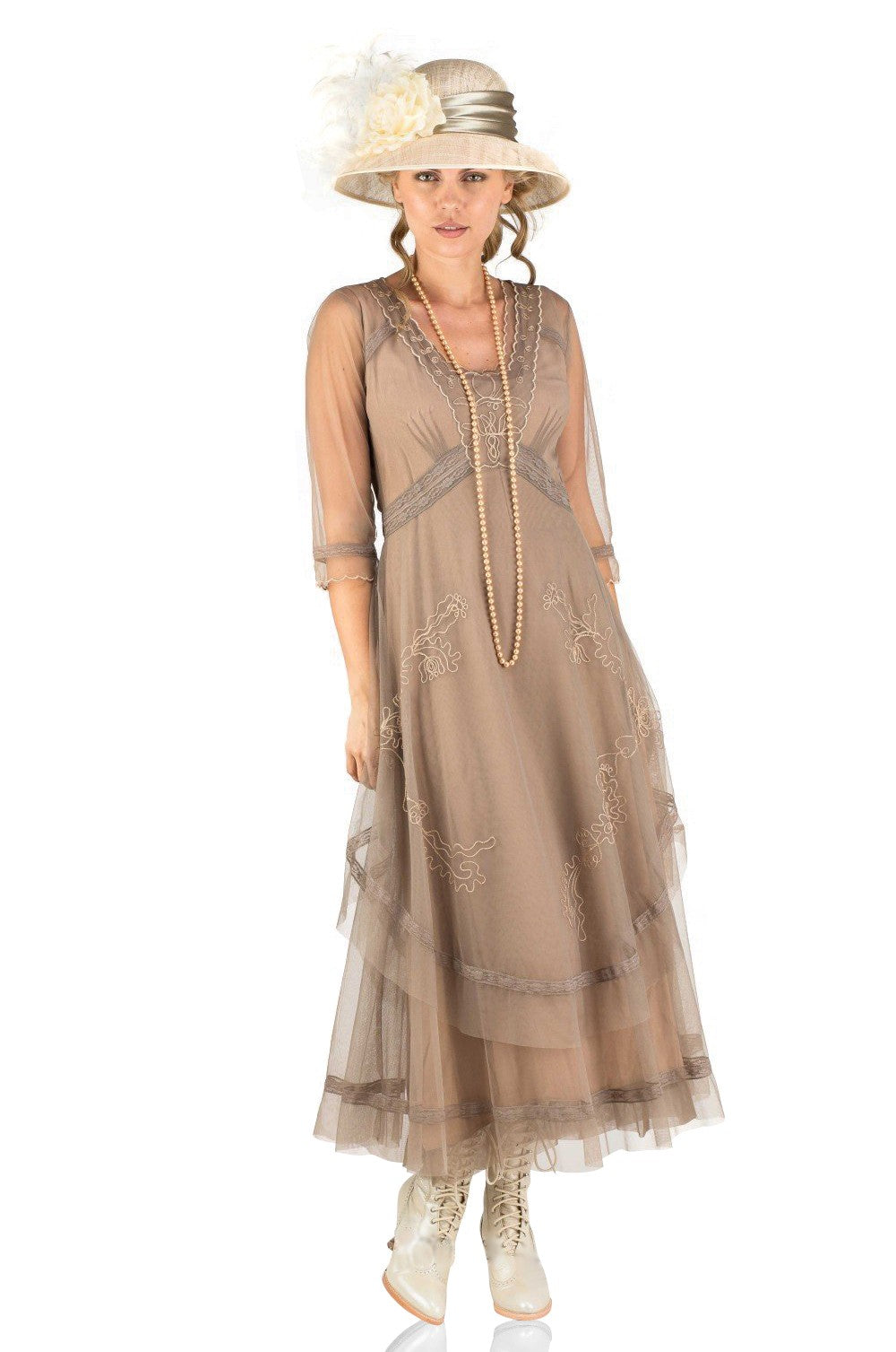 1920s Style Dresses, 20s Dresses Mary Darling Dress in Sand by Nataya $265.00 AT vintagedancer.com