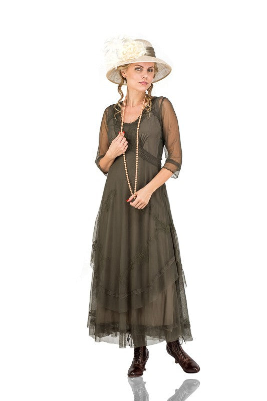 Cottagecore Clothing, Soft Aesthetic Mary Darling Dress in Olive by Nataya $265.00 AT vintagedancer.com