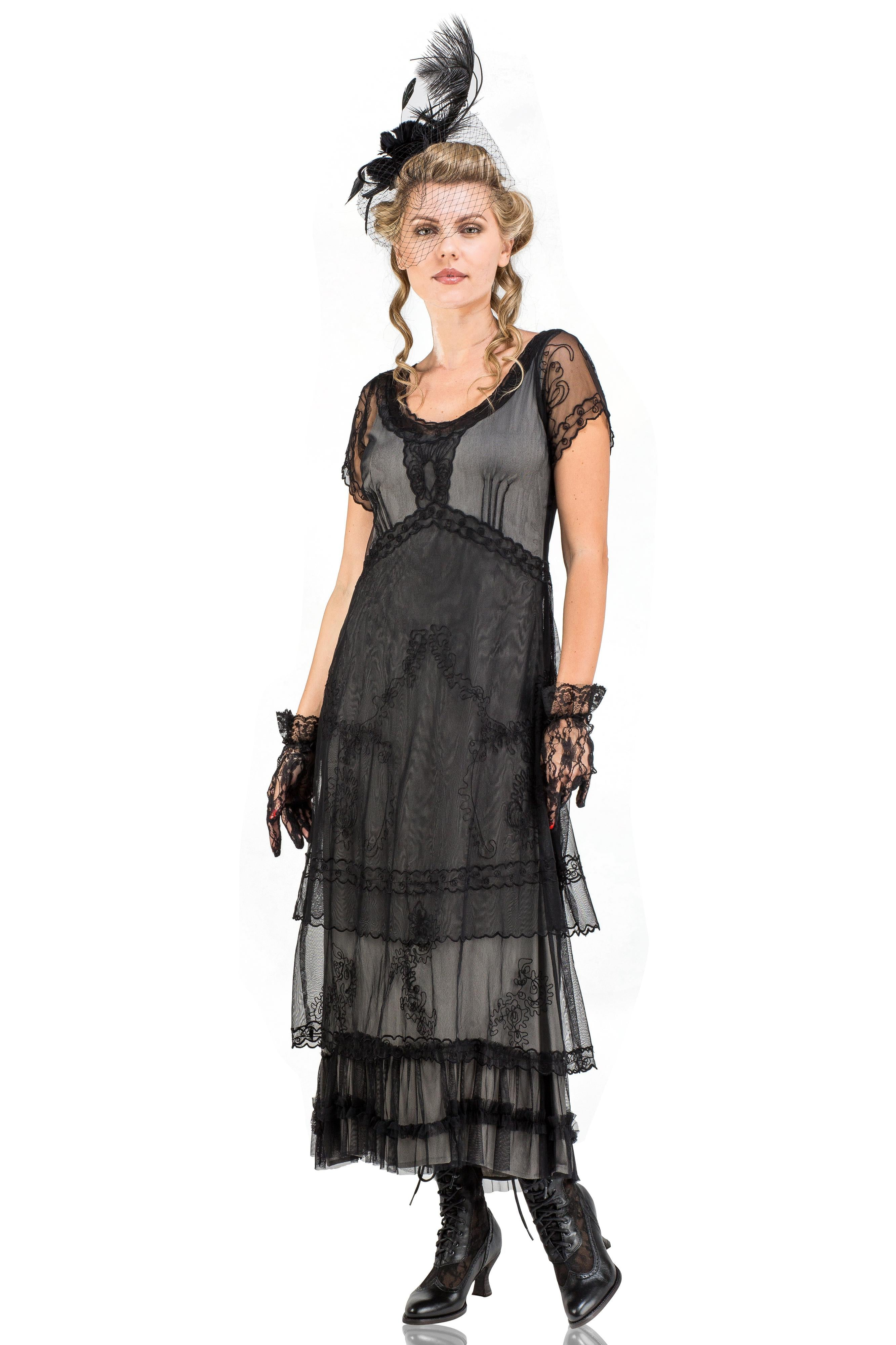 Steampunk Dresses | Women & Girl Costumes Arrianna Vintage Style Party Dress in Black by Nataya $265.00 AT vintagedancer.com