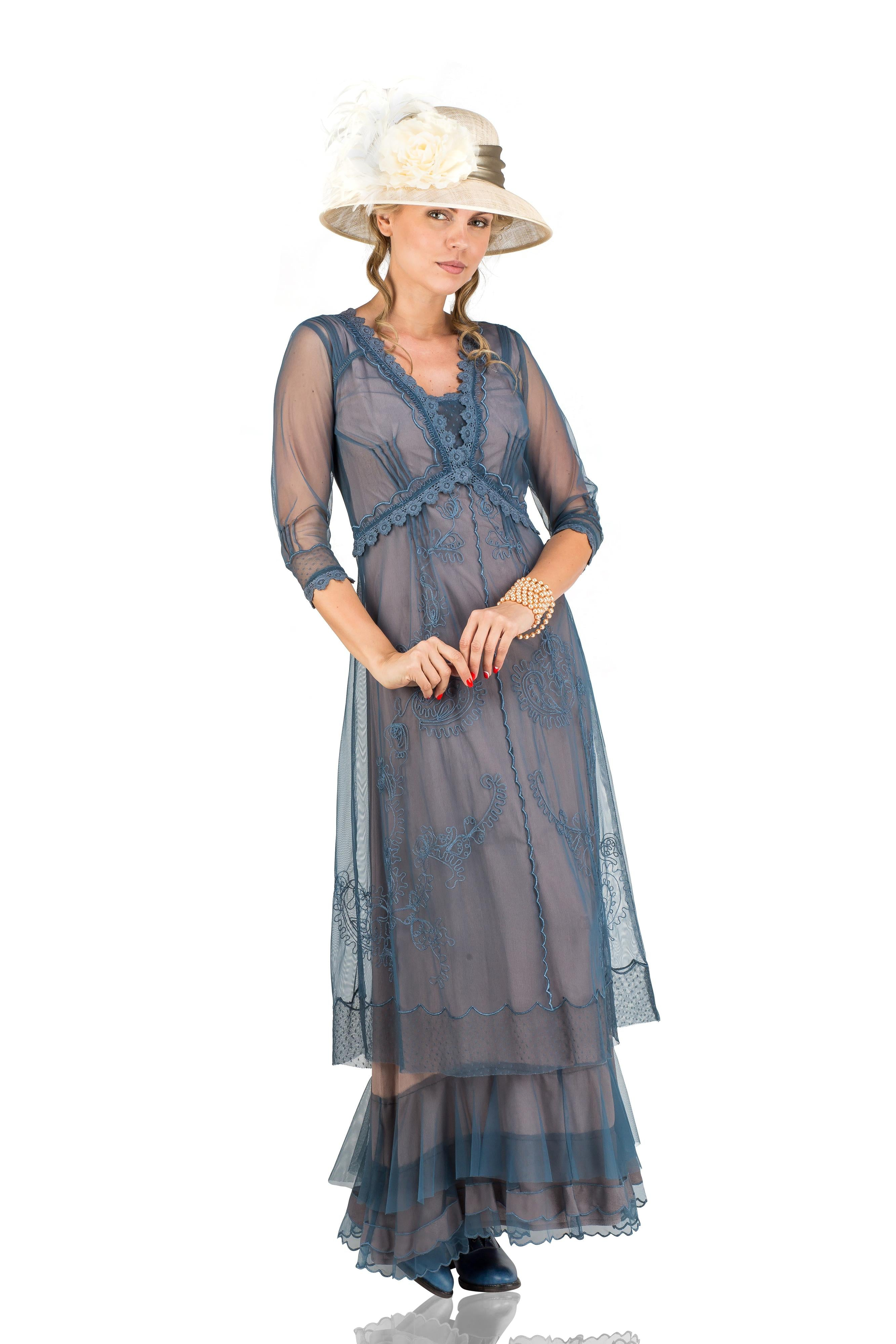1920s Style Dresses, 20s Dresses Audrey Vintage Style Party Gown in Azure by Nataya $265.00 AT vintagedancer.com