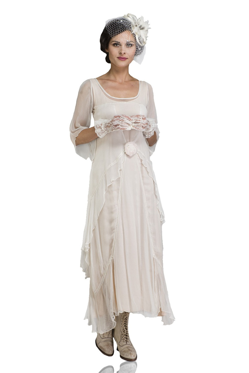 1920s Day Dresses, Tea Dresses, Mature Dresses with Sleeves Great Gatsby Party Dress in Ivory by Nataya $228.00 AT vintagedancer.com
