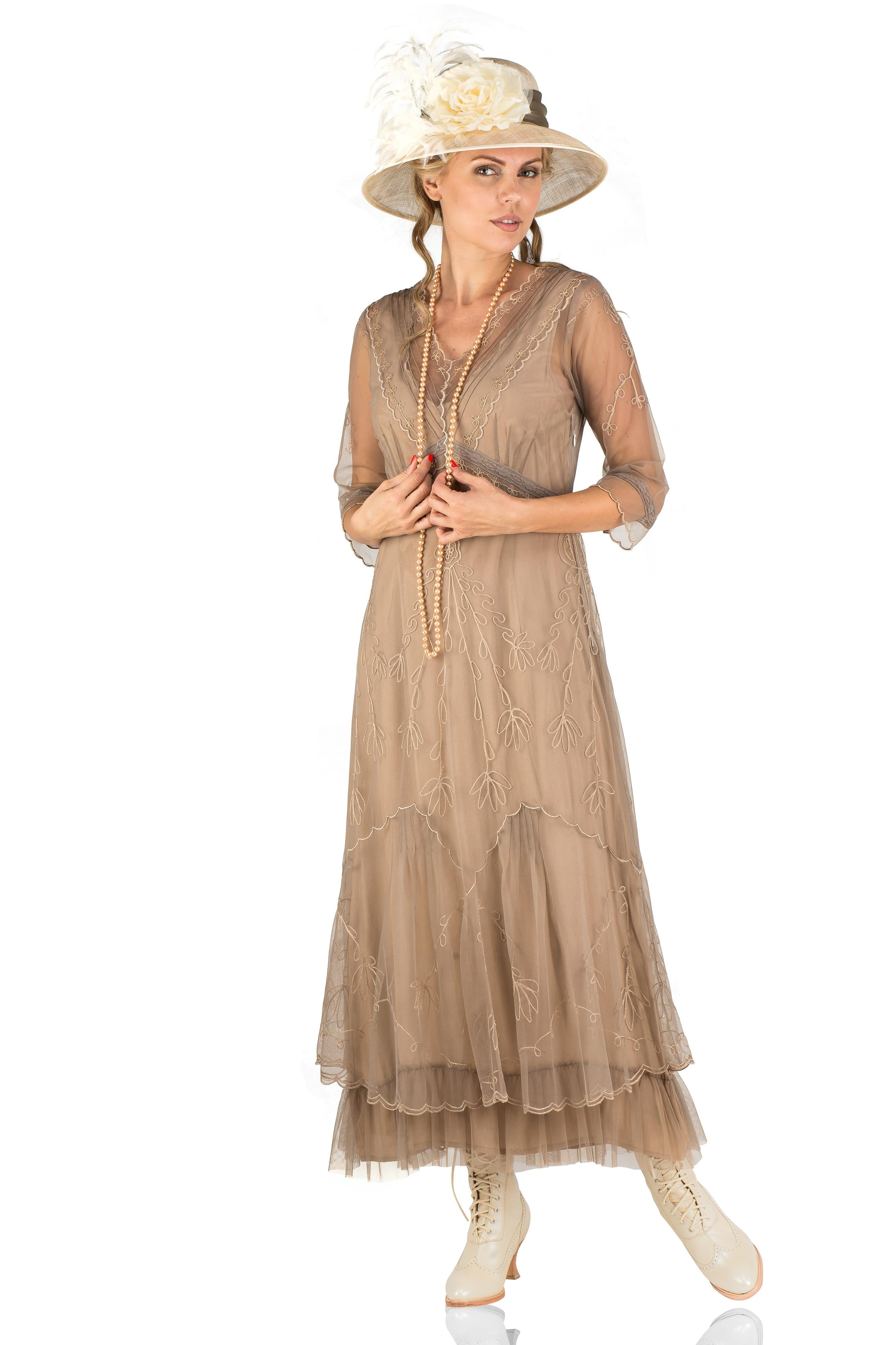 Edwardian Outfit Inspiration & Ideas Somewhere in Time Dress in Sand by Nataya $265.00 AT vintagedancer.com