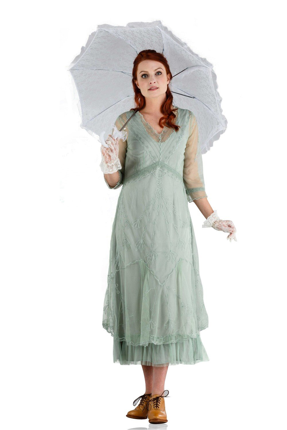 1920s Day Dresses, Tea Dresses, Mature Dresses with Sleeves Somewhere in Time Dress in Moss by Nataya $265.00 AT vintagedancer.com