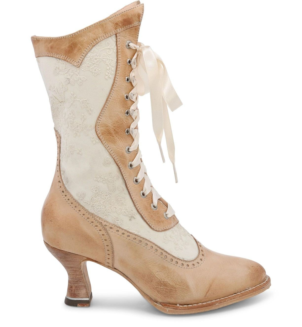 Edwardian Shoes & Boots | Titanic Shoes Abigale Victorian Inspired Leather  Lace Boots in Bone Rustic $285.00 AT vintagedancer.com